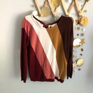 Sezane colorblock striped jumper merino wool